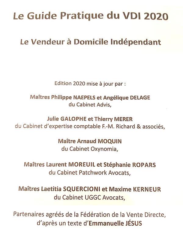 édition 2020 du guide pratique du Vendeur à Domicile Indépendant
